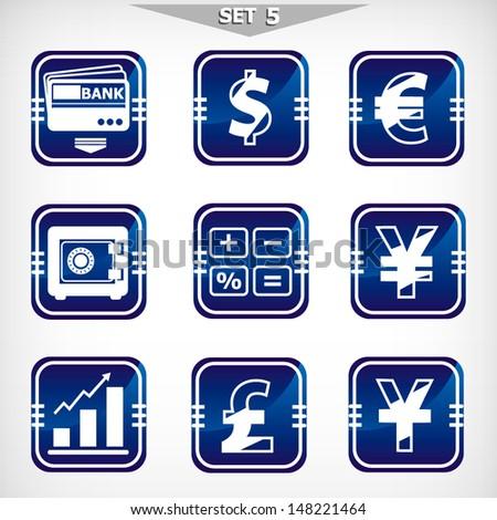 Vector blue finance icons set - stock vector