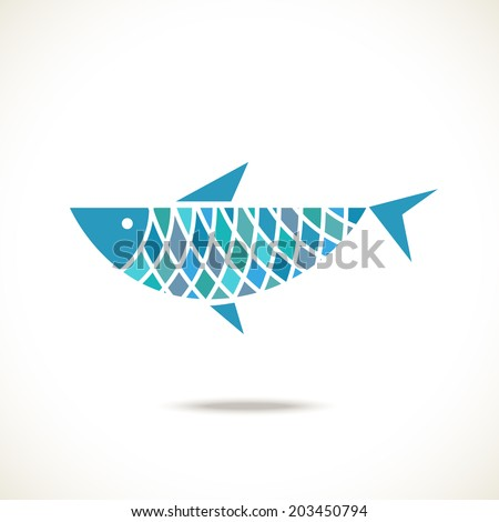 Vector blue fish icon. Original sign. Decorative illustration for print, web - stock vector