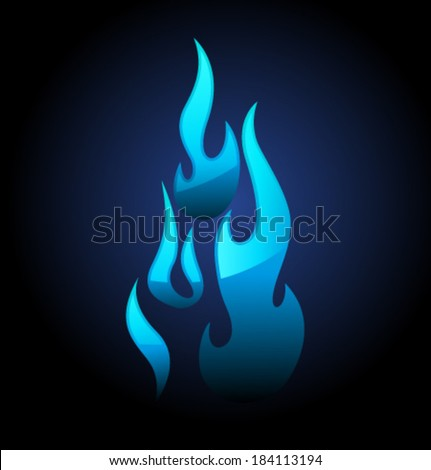 Vector blue flame and glare - stock vector