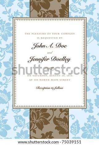 Vector Blue Floral and Striped Pattern and Frame. Easy to edit. Perfect for invitations or announcements.