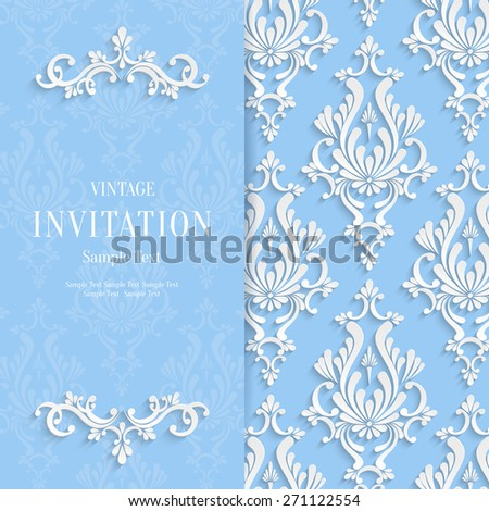Vector Blue Floral 3d Christmas and Invitation Background Template - stock vector
