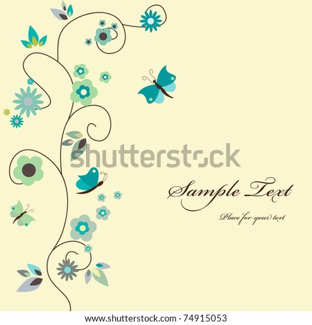 Vector blue floral greeting card