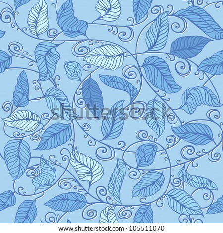 Vector Blue  Floral Pattern