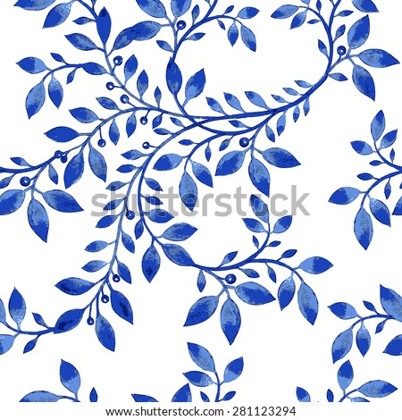 Vector blue floral watercolor texture pattern.Watercolor floral pattern.Blue flowers pattern.Seamless pattern can be used for wallpaper,pattern fills,web page background,surface textures - stock vector