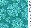 Vector blue flourish seamless pattern - stock photo