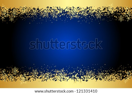 Vector blue frame with gold snowflakes - stock vector