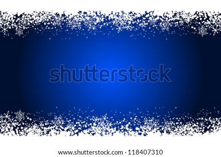 Vector blue frame with snowflakes - stock vector