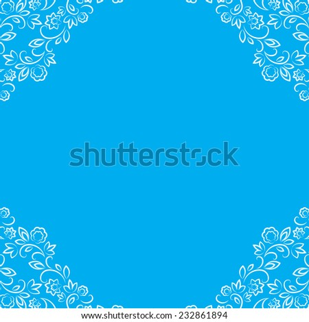 vector blue frame with white floral lace border - stock vector