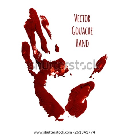 Vector blue greased hand imprint of gouache