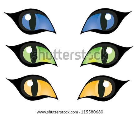 vector blue, green and yellow cats eyes - stock vector