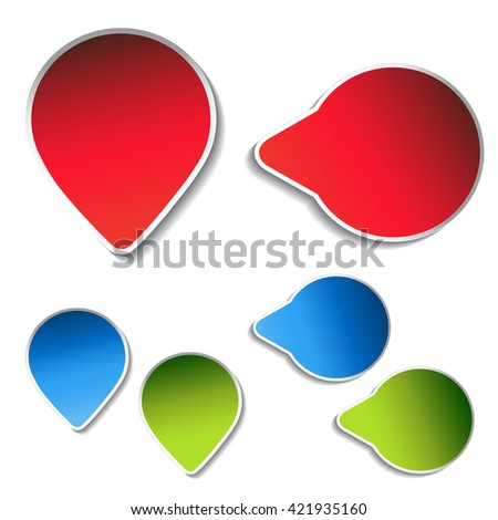 Vector blue, green, red arrow labels on white background. Simple arrow buttons. Pointer on web. Sign of next, read more, play, go etc.  - stock vector