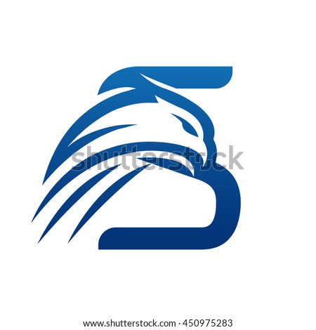 Vector Blue Hawk Letter S Icon
