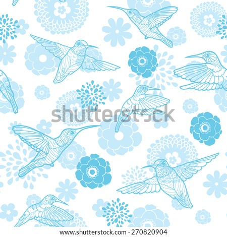 Vector blue hummingbirds and flowers lineart seamless pattern background - stock vector