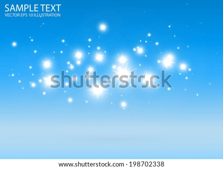 Vector blue light sparks background design template - Blue space sparkles background illustration - stock vector