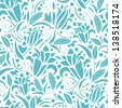 Vector blue lily silhouettes seamless pattern background with hand drawn elements - stock