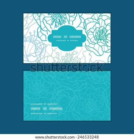 Vector blue line art flowers horizontal frame pattern business cards set - stock vector