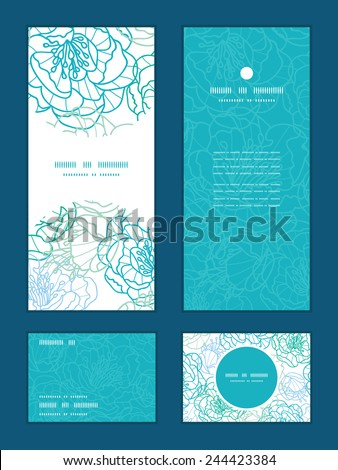 Vector blue line art flowers vertical frame pattern invitation greeting, RSVP and thank you cards set - stock vector