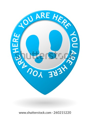 vector blue map pointer with you are here icon - stock vector