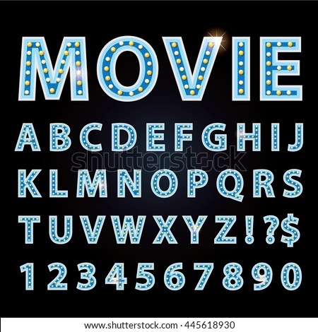 Vector blue neon lamp letters font show cinema or theather - stock vector