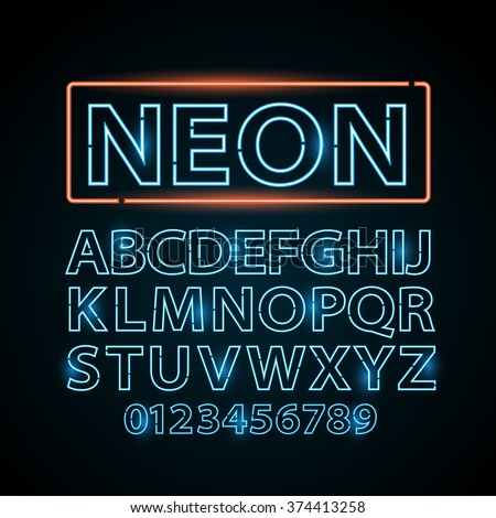Vector blue neon lamp letters font show vegas light sign theater - stock vector