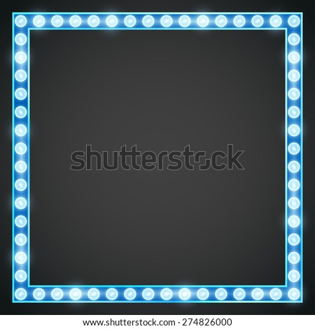 Vector blue neon lights lamp vector frame template - stock vector