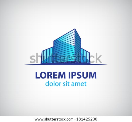 vector blue office building icon isolated, logo for company isolated - stock vector