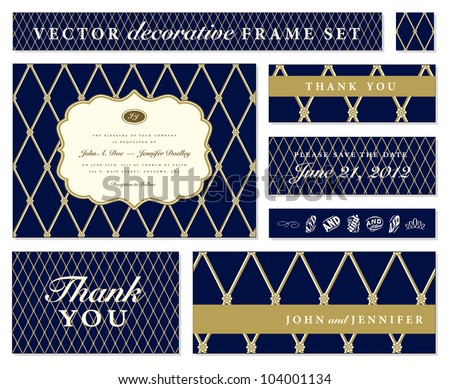 Vector Blue Ornate Frame Set. Easy to edit. Perfect for invitations or announcements. - stock vector