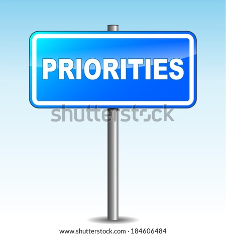 Vector blue priorities signpost on sky background - stock vector