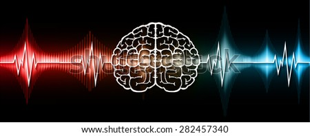 vector blue red brain processes technology, creative idea concept. wave. ecg, ekg, electrocardiogram. - stock vector