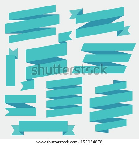 Vector Blue Ribbons Set - stock vector