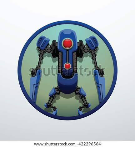 Vector blue round frame with the image of a funny thin blue robot with two arms and legs, with a red lens in the center of the body on light gray background. Technology, modern. Vector humanoid robot. - stock vector