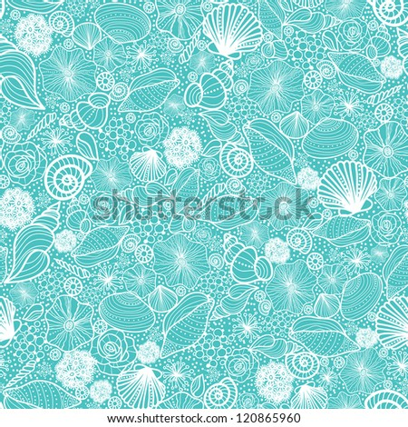 Vector blue seashells line art seamless pattern background with hand drawn elements. - stock vector