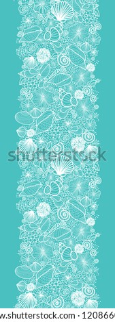Vector blue seashells line art vertical seamless pattern ornament background with hand drawn elements. - stock vector