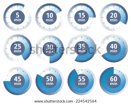 Vector blue set of timers - stock vector
