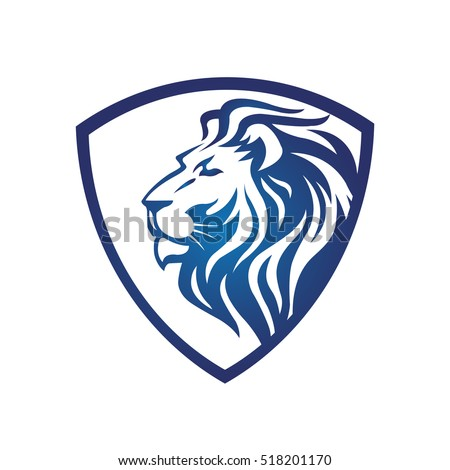 White lion with blue background logo - photo#26