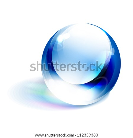 Vector blue shiny sphere - stock vector