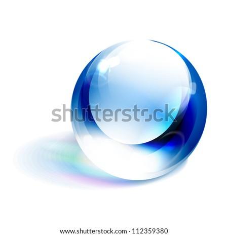 Vector blue shiny sphere - stock vector