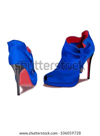Vector blue shoes - stock vector