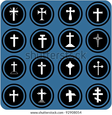 vector blue  signs. christian crosses icons. - stock vector