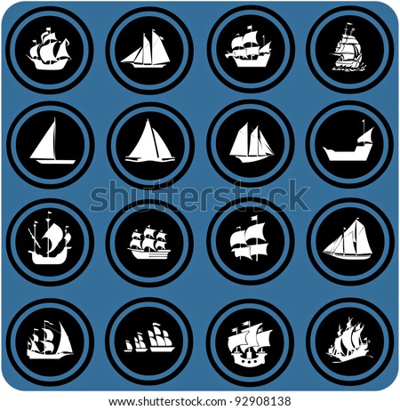 vector blue  signs. ship icons. Icon set Boats - stock vector