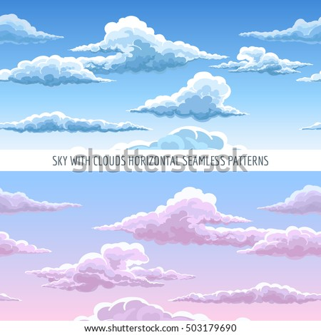 Vector blue sky with clouds horizontal seamless pattern. Cartoon heavenly clouds in the sky on sunny day background