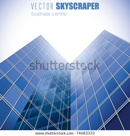 VECTOR  Blue Skyscrapers with Sun - stock vector
