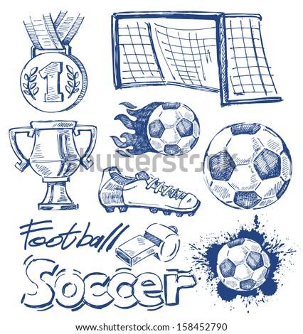 vector blue soccer icon set on white - stock vector