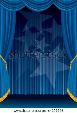 vector blue stage with spotlight stars, eps 10 file - stock vector