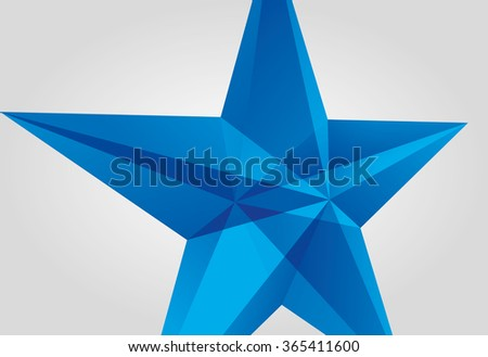 Vector blue star. Surround the star. Star blue glass.  - stock vector