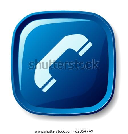 vector blue telephone receiver button - stock vector