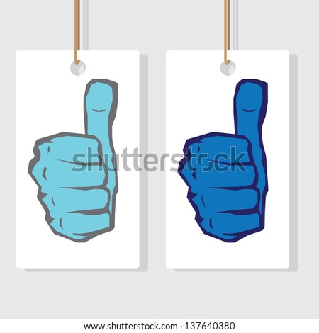 vector blue thumb up icon. symbol of good job - stock vector
