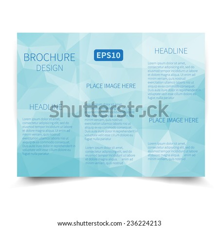 Vector blue tri-fold brochure design template with abstract geometric background. Tri-Fold Mock up & back Brochure Design with triangles. Vector design illustration EPS10