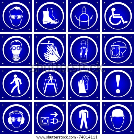 vector blue warning signs - stock vector