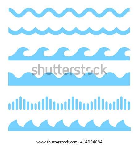 Vector blue wave icons set on white background. Water waves - stock vector